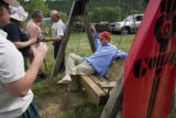 "Supporters of NORML enjoy the relaxing surroundings of Owl Farm during a ""High-T"" in..."