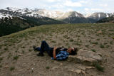 Gerald Swarvar (cq) takes a cool rest on the top of Loveland Pass on Wednesday afternoon, June 7,...