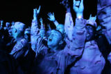 "03/30/2005 Camp Buehring, Kuwait-Soldiers cheer for the rock group ""Adema"" as they play..."