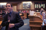 Speaker of the Colorado House of Representatives Andrew Romanoff, (D-Dist. 6), watches the tally...