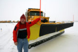 Rocky Mountain News reporter Kevin Flynn in front of a snow pusher, Thursday Dec. 27, 2007 at...