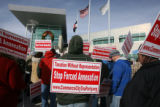Annexation protest at the Commerce City City Hall Thursday December 13,2007. The protest was held...