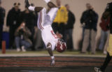 0094 University of Alabama #9 Nikita Stover flips over the goal line for a score in the second...