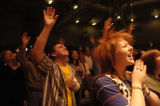 DM0791   Bethany Ervin, 16, rejoices to the music during the praise and worship segment of first...