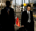 (at right) Stephan Oestreicher (cq) the assistant U.S. attorney, leaves the Byron White U.S....