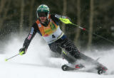 Bode Miller skis the slalom portion of the super combined in the Men's Super Combined race,...