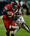 Denver Broncos #21, Hamza Abdullah, right, tackles Houston Texans #36, Ron Dayne, left, deep in...