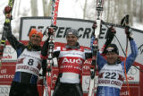 Winner s in the downhill. Left top right. Steven Nyman USA ,  finishing 2nd , Michael Walchhofer...