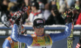 Daniel Albrecht  SUI celebrates moving into first place on his second run in the Giant Slalom ...