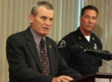 Scott Storey (cq) and Lakewood Police Chief Ron Burns (cq) during press conference at the...