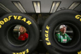 MJM222 NHRA top fuel funny car drivers, Ashley Force (cq), left,  and father, John Force (cq) pose...