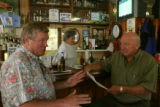 Steve Tiejen (cq), left, and Frank J. Stasko (cq) talk about the town of Sedalia, Wednesday...