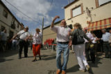 (NYT51) LA VINUELA, Spain -- JUNE 28,2007 -- SPAIN-SPOUSE-SCARCITY-2 -- Men and women dancing in...