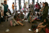 incoming freshman wait in line to register for classes during freshman orientation at CU Boulder...