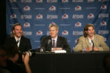 146 Colorado Avalanche executive vice president and general manager Francois Giguere, center,...