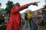Hillary Clinton campaigns with her husband former President Bill Clinton at a campaign event at...