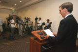 NMJ spokesperson William Allstetter (cq) reads a letter from Andrew Speaker (cq) during a press...