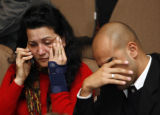 XVC114 - Relatives of passengers of a TAM airlines commercial jet that crashed in Sao Paulo wait...