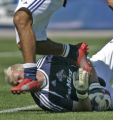 0053 Goalie Kevin Hartman makes a stop as the Major League Soccer All-Star team practices for 2007...