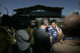 0308 Colorado Rapids Pablo Mastroeni talks to the media after practicing with the Major League...