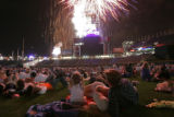 439 A family huddles together as thousands of Colorado Rockies fans watch fireworks from the field...