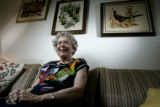 Margaret Minteer(cq) poses for a portrait in her living room of her apartment at Westland Meridian...