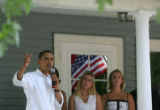 Barack Obama campaigns for the Iowa caucus at the Vroom household in Pella, Iowa, on Wednesday,...