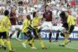 Rapids Defenders Facundo Erpen (3) and Ugo Ihemelu (18) contend for the ball during the match...