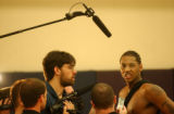 Denver, Colo., April 26, 2004- Nuggets rookie, Carmelo Anthony, sneers as he is asked question...