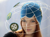 "MME102 - Model Mara wearing the hat creation  ""Climate Summit"" by German Anna Caroline..."
