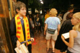 Harry Potter fan Dylan Sneed, 12, of Boulder waits to go inside at a party for the release of the...