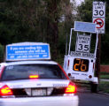 CONFUSING SPEED : An unmanned Denver Police mobile traffic monitor on 13th Avenue near grape...