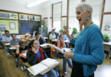 (Denver shot on 4/21/05) English language acquisition teacher Roanne Ross (CQ-Roanne Ross) teaches...