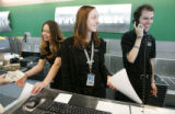 (Denver shot on 4/18/05) A jovial atmosphere fills the air as Frontier Airlines employee's (From...