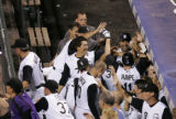 0601 Colorado Rockies Brad Hawpe is celebrated after hitting a game winning two run homerun in the...
