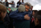 05/26/2004 Seattle-Senator John Kerry hugs a supporter after speaking at Seattle Pier 62 on...