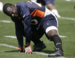 Running back Travis Henry (20) stretches at the last Broncos mini camp at Broncos Headquarters in...