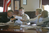 0167 From left, Mark Scheffel, Elbert County attorney, John Metli, commissioner, Suzie Graeff,...