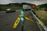 0006 Police tape is all that is left at the scene of a fatal wreck that took the life of a truck...
