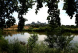 The South Platte River, at Confluence Park, flows north, with Denver in the background, July 13,...