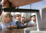 (DENVER, Colo., April 19, 2005) Preschool children(L-R) Maxine Fuselier,Eric Payne, Robert Strong,...