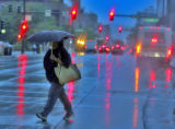 Light rain and cooler weather moved into the metro  early Monday September 10,2007. This commuter...