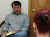Tony Trowbridge (cq), talks to a client in his office at the Mountain Resource Center, 11030 Kitty...