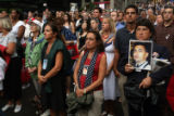(NYT14) NEW YORK -- Sept. 11, 2007 -- 9-11-MEMORIAL-14 -- Mourners gather near ground zero in...