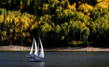 Sailboats enjoy a nice day on Ruedi Reservoir, September 20, 2007, near Basalt. The changing...