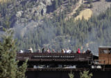 A sold out  Georgetown Loop Historic Mining & Railroad train makes its way north of Georgetown...