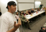DM4679  Rocky Mountain Collegian sports reporter Matt Spaulding speaks speaks out in front of the...