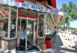 Lisa Schwinn (cq) exits  Bonnie Brae Ice Cream at 799 S. University after picking up some ice...