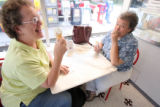 L to R: Sandy Holcomb (cq) and Pam O'Brien (cq) enjoy ice cream at Bonnie Brae Ice Cream at 799 S....