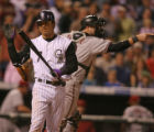 [ES0014] Colorado Rockies second basemen Kazuo Matsui strikes out at the end of ninth inning of...